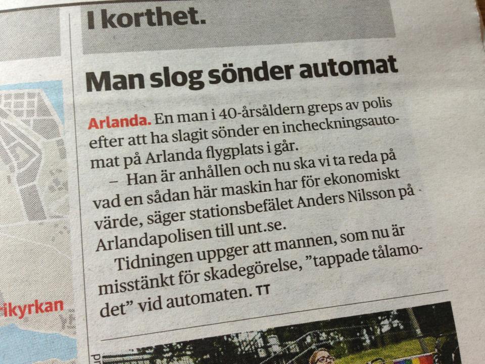 Incheckningsautomat misshandlad på Arlanda